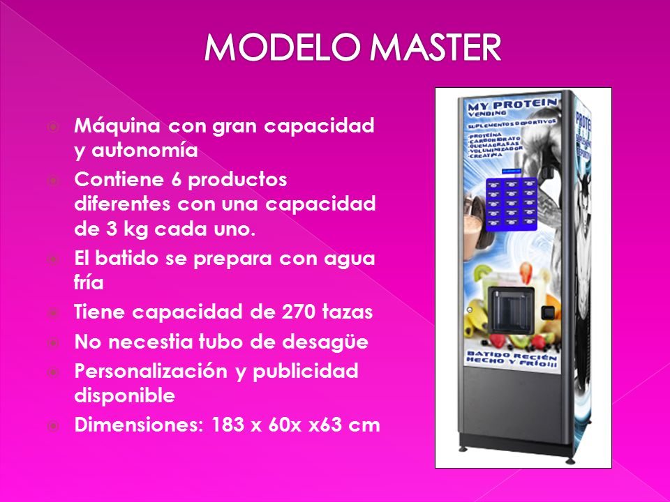  Máquina con gran capacidad y autonomía  Contiene 6 productos diferentes con una capacidad de 3 kg cada uno.