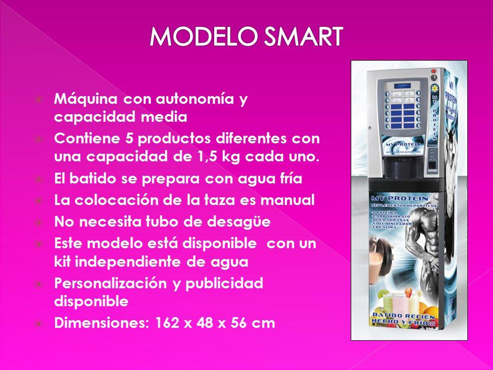  Máquina con autonomía y capacidad media  Contiene 5 productos diferentes con una capacidad de 1,5 kg cada uno.