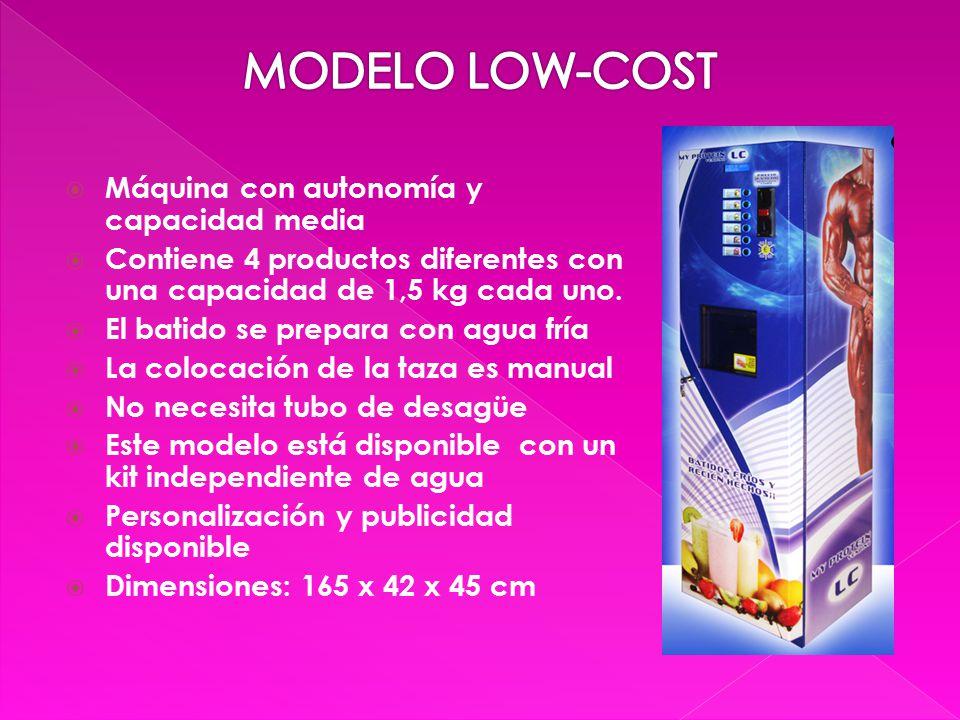  Máquina con autonomía y capacidad media  Contiene 4 productos diferentes con una capacidad de 1,5 kg cada uno.