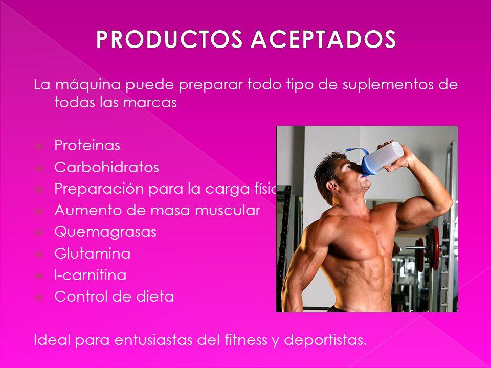 La máquina puede preparar todo tipo de suplementos de todas las marcas  Proteinas  Carbohidratos  Preparación para la carga física  Aumento de masa muscular  Quemagrasas  Glutamina  l-carnitina  Control de dieta Ideal para entusiastas del fitness y deportistas.