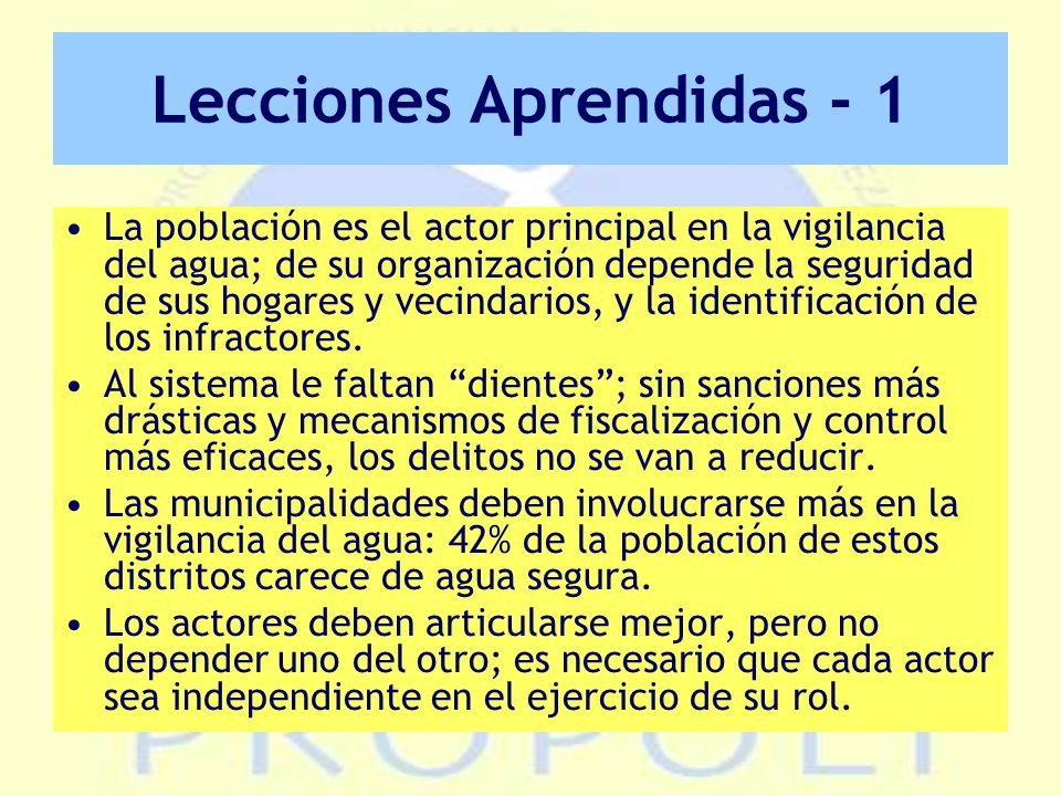 Lecciones Aprendidas - 1 La población es el actor principal en la vigilancia del agua; de su organización depende la seguridad de sus hogares y vecindarios, y la identificación de los infractores.