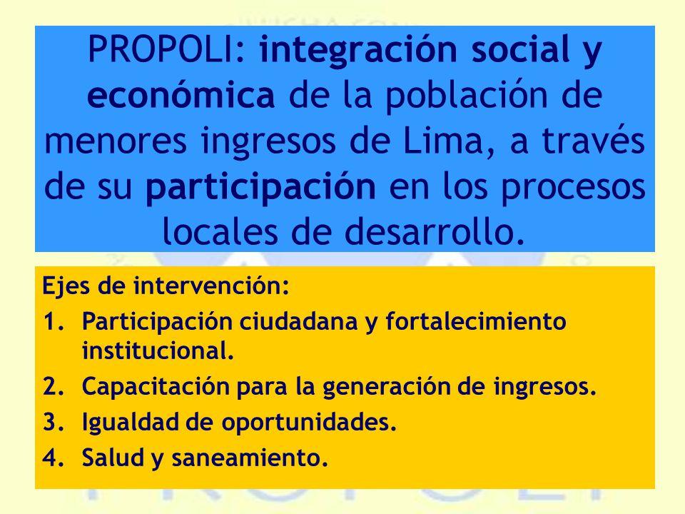 PROPOLI: integración social y económica de la población de menores ingresos de Lima, a través de su participación en los procesos locales de desarrollo.