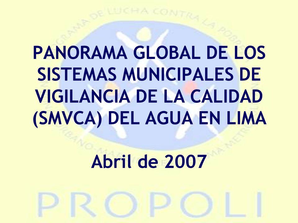 PANORAMA GLOBAL DE LOS SISTEMAS MUNICIPALES DE VIGILANCIA DE LA CALIDAD (SMVCA) DEL AGUA EN LIMA Abril de 2007