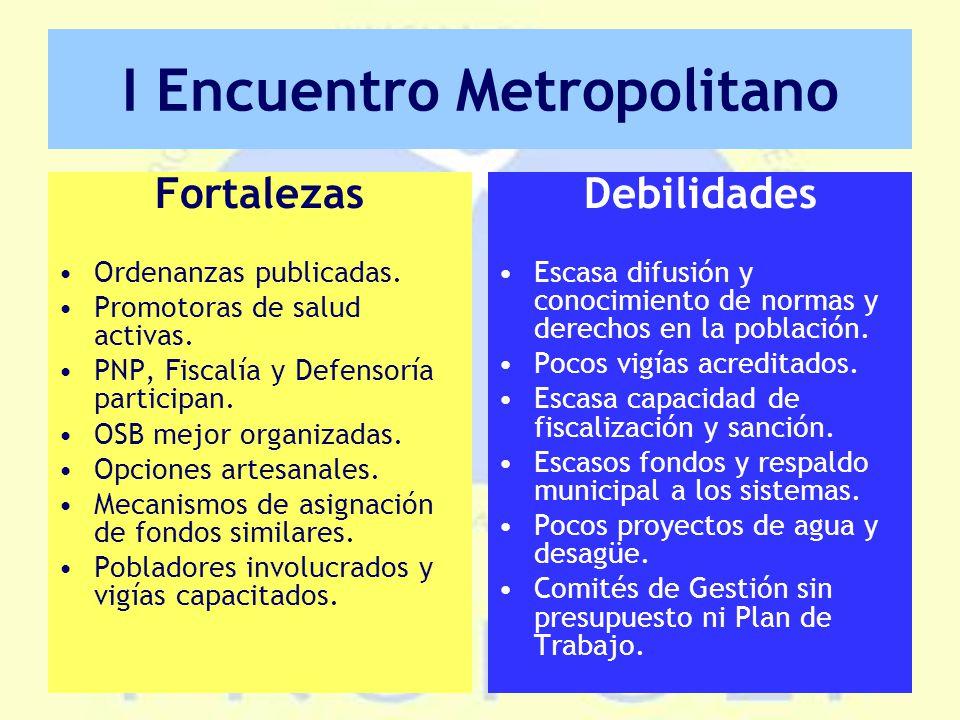 I Encuentro Metropolitano Fortalezas Ordenanzas publicadas.