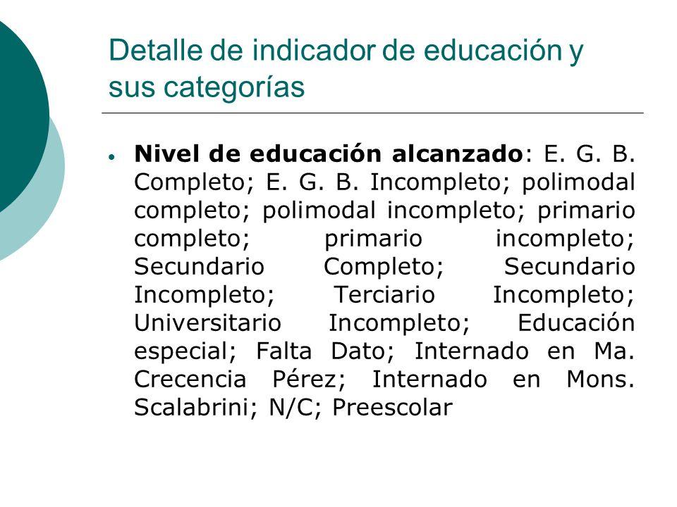 Detalle de indicador de educación y sus categorías  Nivel de educación alcanzado: E.