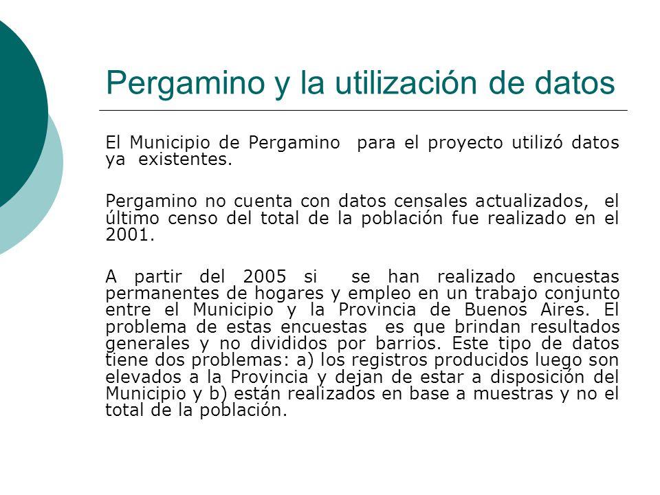 Pergamino y la utilización de datos El Municipio de Pergamino para el proyecto utilizó datos ya existentes.