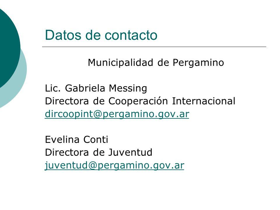 Datos de contacto Municipalidad de Pergamino Lic.