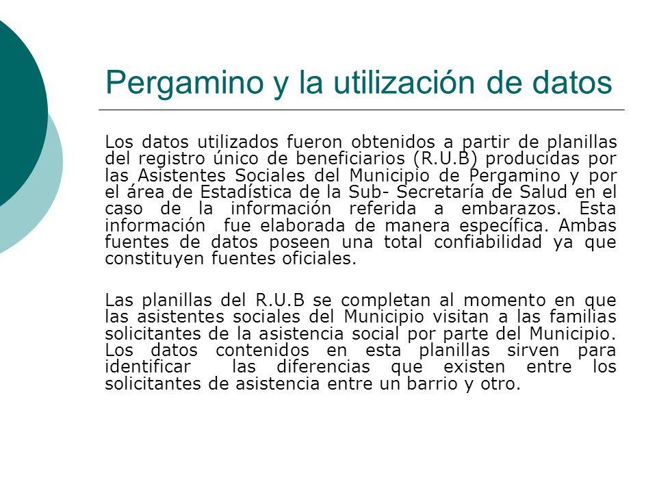 Pergamino y la utilización de datos Los datos utilizados fueron obtenidos a partir de planillas del registro único de beneficiarios (R.U.B) producidas por las Asistentes Sociales del Municipio de Pergamino y por el área de Estadística de la Sub- Secretaría de Salud en el caso de la información referida a embarazos.