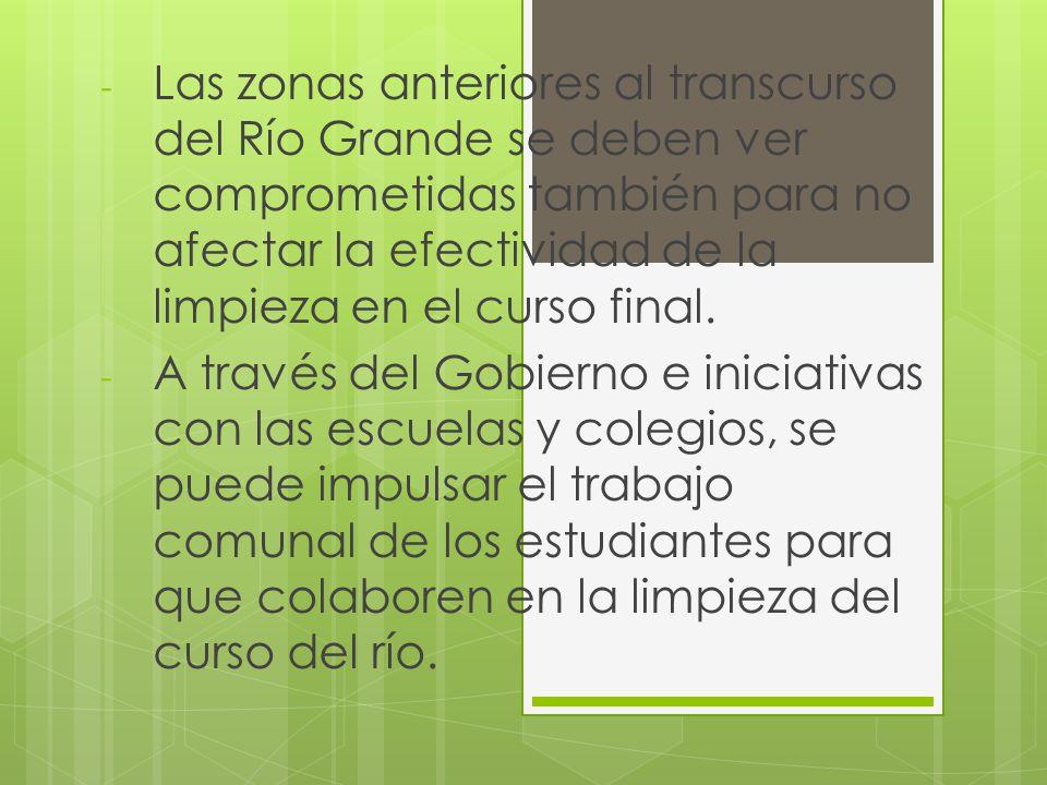 - Las zonas anteriores al transcurso del Río Grande se deben ver comprometidas también para no afectar la efectividad de la limpieza en el curso final.
