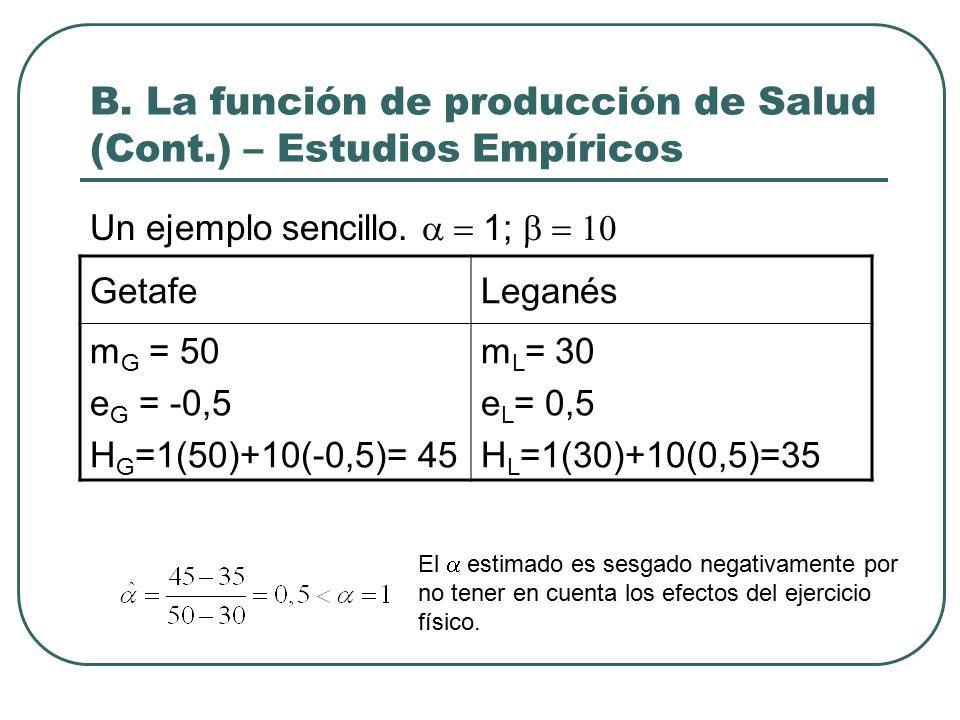 B. La función de producción de Salud (Cont.) – Estudios Empíricos Un ejemplo sencillo.
