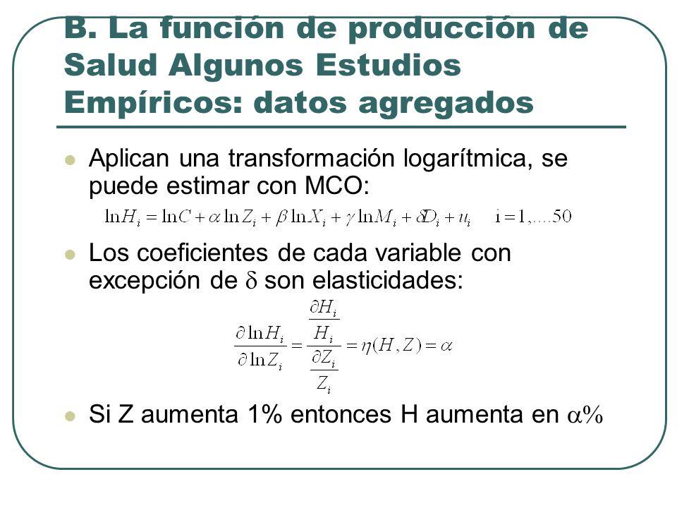 Aplican una transformación logarítmica, se puede estimar con MCO: Los coeficientes de cada variable con excepción de  son elasticidades: Si Z aumenta 1% entonces H aumenta en  B.