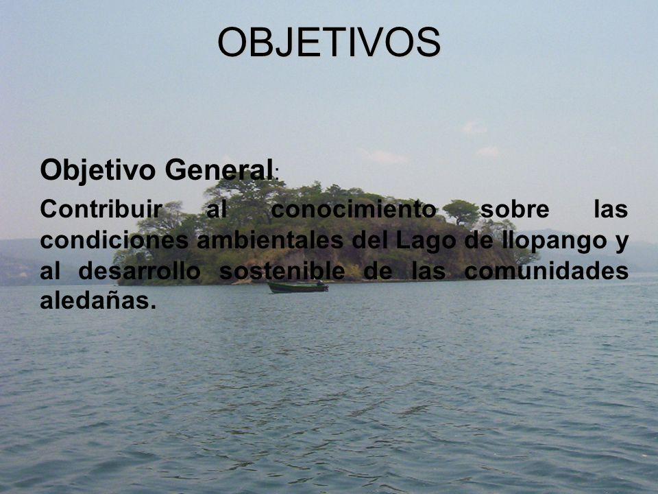 OBJETIVOS Objetivo General : Contribuir al conocimiento sobre las condiciones ambientales del Lago de Ilopango y al desarrollo sostenible de las comunidades aledañas.