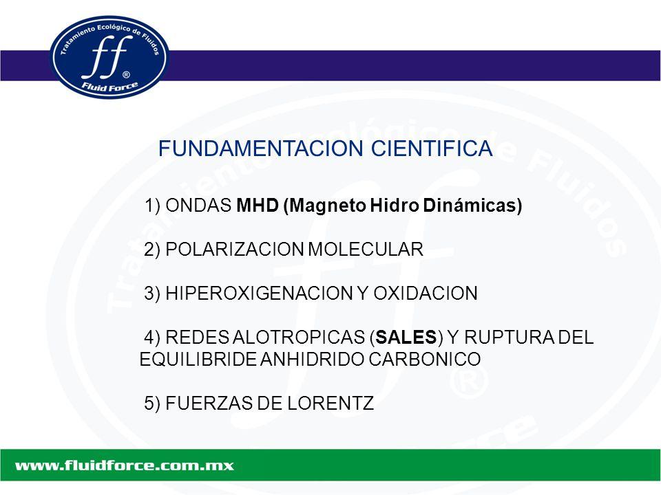 FUNDAMENTACION CIENTIFICA 1) ONDAS MHD (Magneto Hidro Dinámicas) 2) POLARIZACION MOLECULAR 3) HIPEROXIGENACION Y OXIDACION 4) REDES ALOTROPICAS (SALES) Y RUPTURA DEL EQUILIBRIDE ANHIDRIDO CARBONICO 5) FUERZAS DE LORENTZ