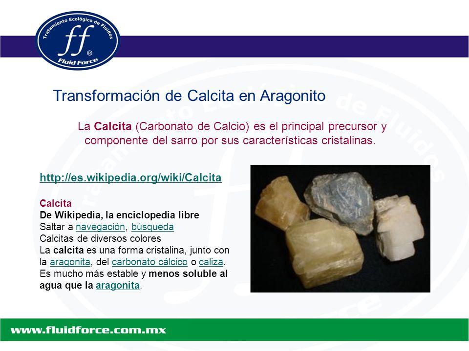 http://es.wikipedia.org/wiki/Calcita Calcita De Wikipedia, la enciclopedia libre Saltar a navegación, búsquedanavegaciónbúsqueda Calcitas de diversos colores La calcita es una forma cristalina, junto con la aragonita, del carbonato cálcico o caliza.aragonitacarbonato cálcicocaliza Es mucho más estable y menos soluble al agua que la aragonita.aragonita La Calcita (Carbonato de Calcio) es el principal precursor y componente del sarro por sus características cristalinas.