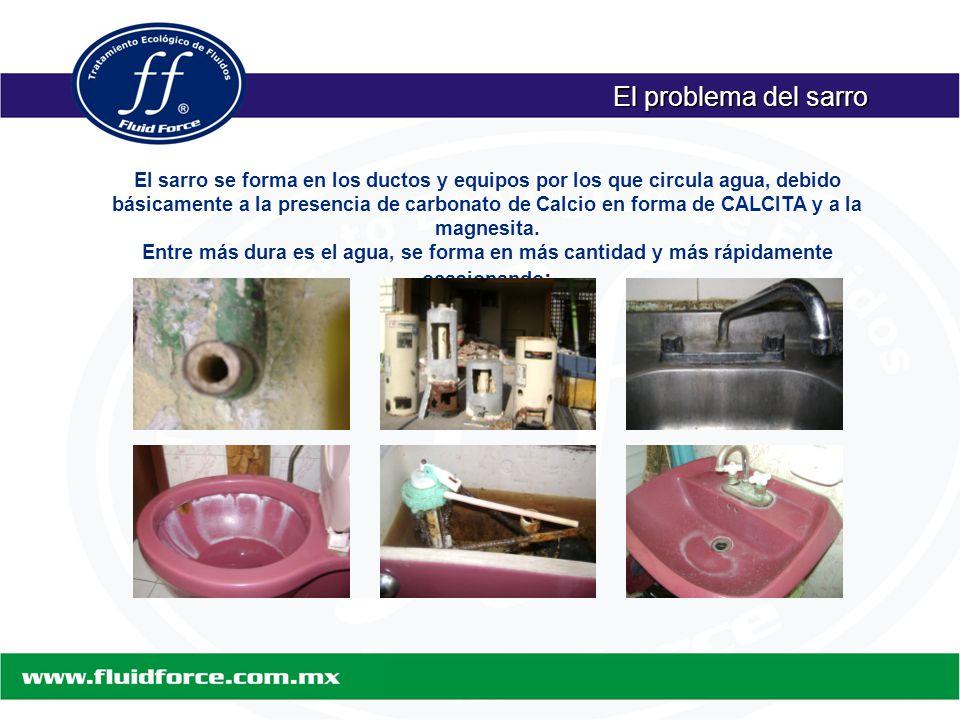 El problema del sarro El sarro se forma en los ductos y equipos por los que circula agua, debido básicamente a la presencia de carbonato de Calcio en forma de CALCITA y a la magnesita.