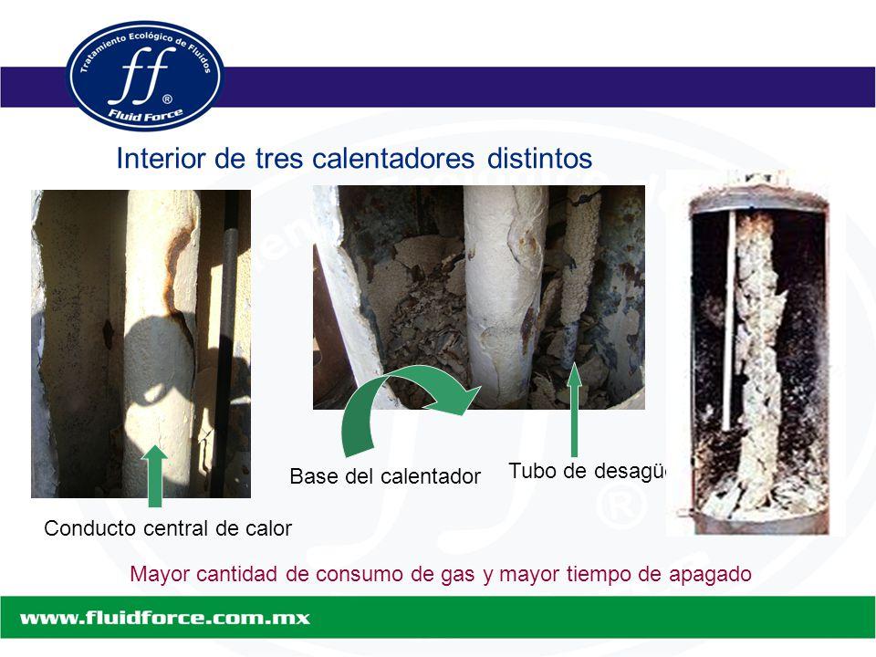 Interior de tres calentadores distintos Conducto central de calor Base del calentador Tubo de desagüe Mayor cantidad de consumo de gas y mayor tiempo de apagado