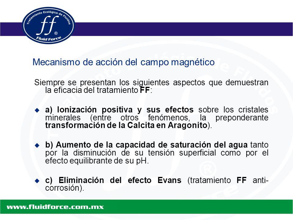 Siempre se presentan los siguientes aspectos que demuestran la eficacia del tratamiento FF:   a) Ionización positiva y sus efectos sobre los cristales minerales (entre otros fenómenos, la preponderante transformación de la Calcita en Aragonito).