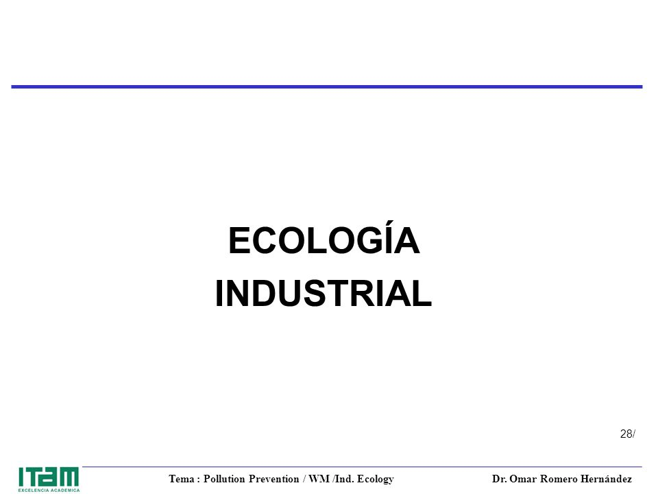 Tema : Pollution Prevention / WM /Ind. Ecology Dr. Omar Romero Hernández 28/ ECOLOGÍA INDUSTRIAL