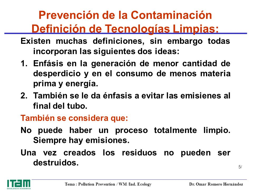 Tema : Pollution Prevention / WM /Ind. Ecology Dr.