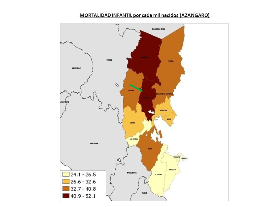 MORTALIDAD INFANTIL por cada mil nacidos (AZANGARO)