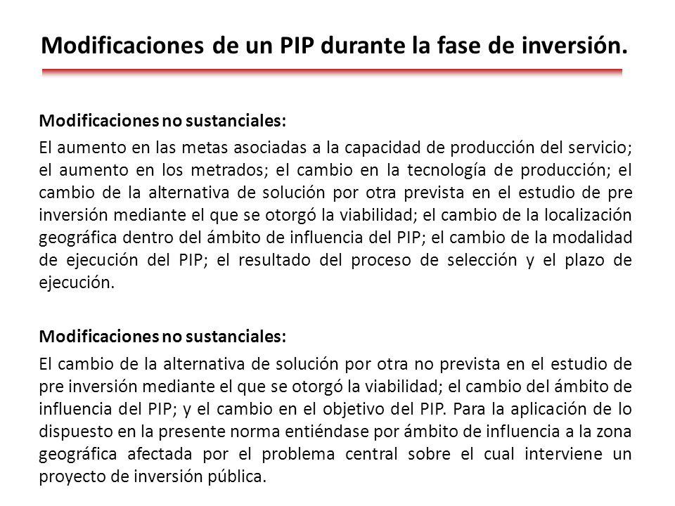 Modificaciones de un PIP durante la fase de inversión.