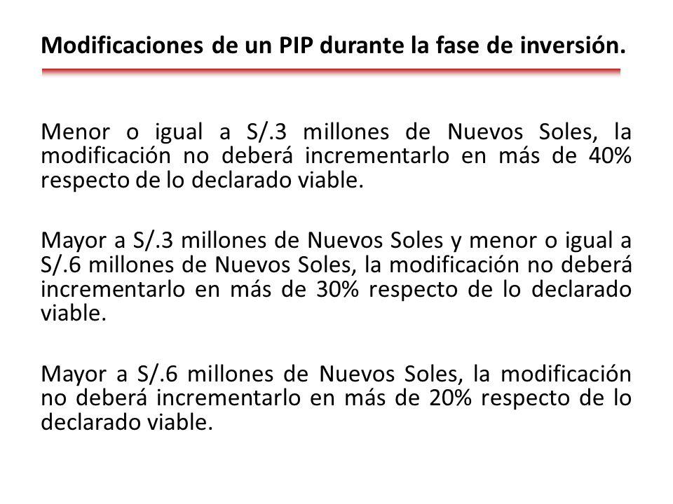 Menor o igual a S/.3 millones de Nuevos Soles, la modificación no deberá incrementarlo en más de 40% respecto de lo declarado viable.