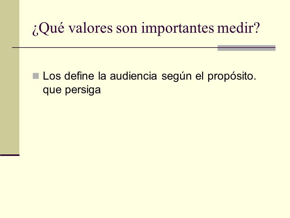 ¿Qué valores son importantes medir Los define la audiencia según el propósito. que persiga