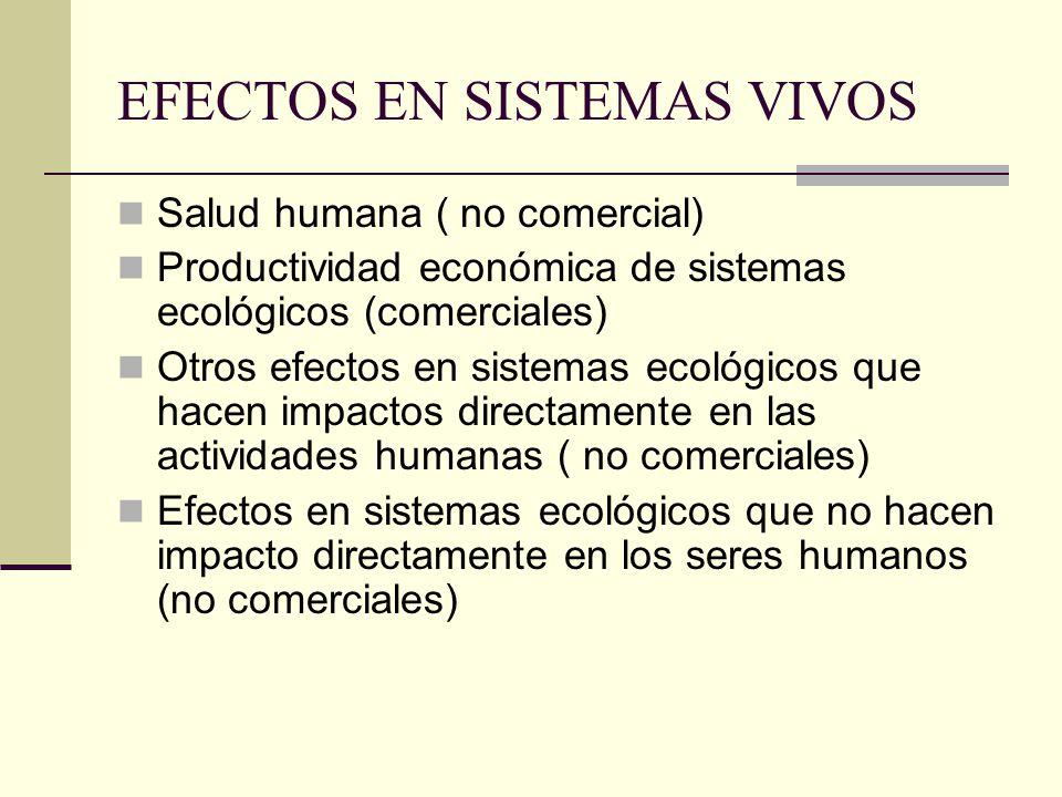 EFECTOS EN SISTEMAS VIVOS Salud humana ( no comercial) Productividad económica de sistemas ecológicos (comerciales) Otros efectos en sistemas ecológicos que hacen impactos directamente en las actividades humanas ( no comerciales) Efectos en sistemas ecológicos que no hacen impacto directamente en los seres humanos (no comerciales)
