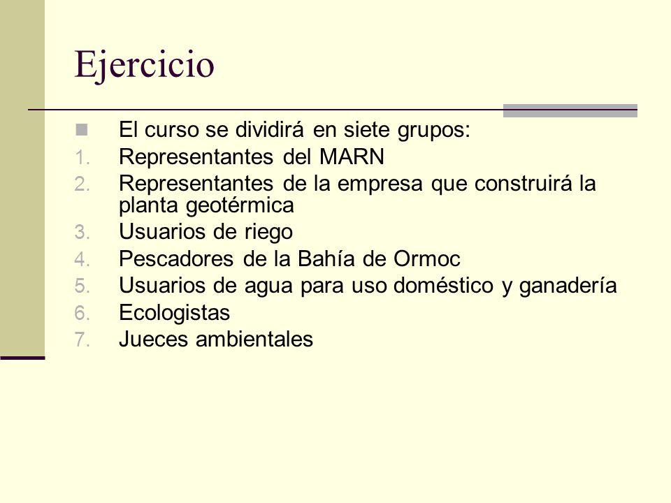 Ejercicio El curso se dividirá en siete grupos: 1.