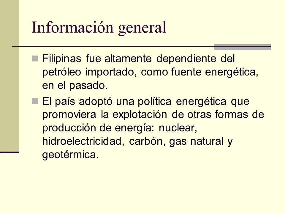 Información general Filipinas fue altamente dependiente del petróleo importado, como fuente energética, en el pasado.
