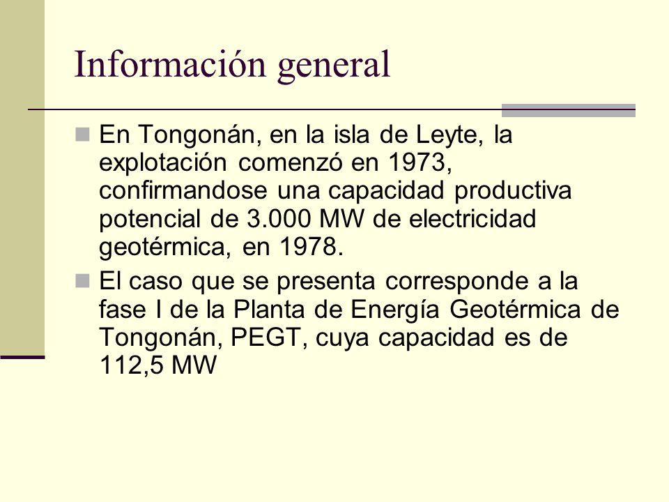 Información general En Tongonán, en la isla de Leyte, la explotación comenzó en 1973, confirmandose una capacidad productiva potencial de 3.000 MW de electricidad geotérmica, en 1978.