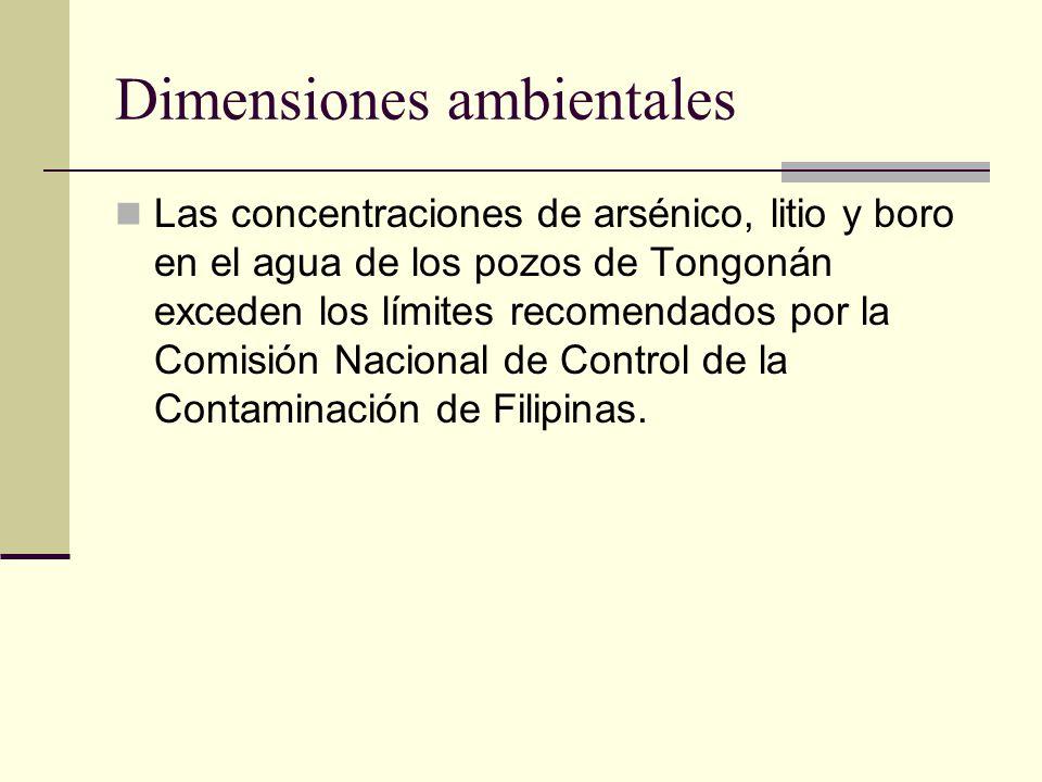 Dimensiones ambientales Las concentraciones de arsénico, litio y boro en el agua de los pozos de Tongonán exceden los límites recomendados por la Comisión Nacional de Control de la Contaminación de Filipinas.