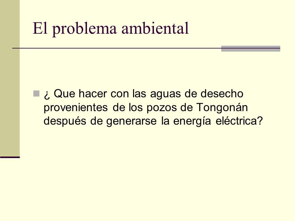 El problema ambiental ¿ Que hacer con las aguas de desecho provenientes de los pozos de Tongonán después de generarse la energía eléctrica