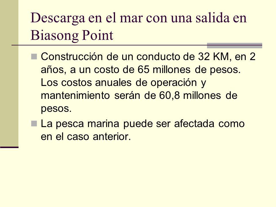 Descarga en el mar con una salida en Biasong Point Construcción de un conducto de 32 KM, en 2 años, a un costo de 65 millones de pesos.