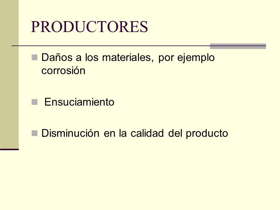 PRODUCTORES Daños a los materiales, por ejemplo corrosión Ensuciamiento Disminución en la calidad del producto