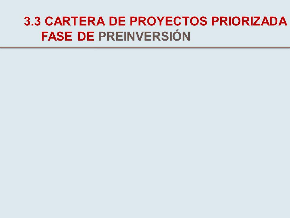 3.3 CARTERA DE PROYECTOS PRIORIZADA FASE DE PREINVERSIÓN