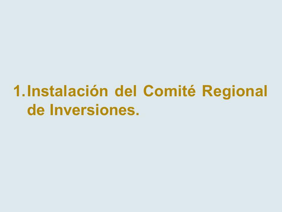 1.Instalación del Comité Regional de Inversiones.