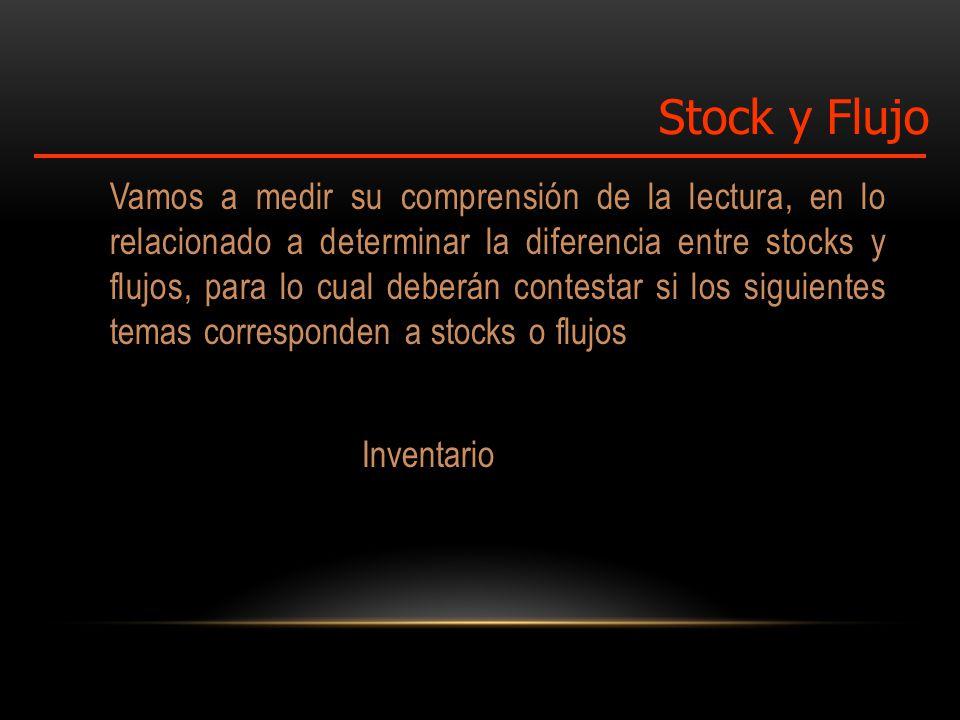 Vamos a medir su comprensión de la lectura, en lo relacionado a determinar la diferencia entre stocks y flujos, para lo cual deberán contestar si los siguientes temas corresponden a stocks o flujos Inventario Stock y Flujo