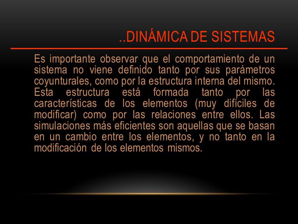 ..DINÁMICA DE SISTEMAS Es importante observar que el comportamiento de un sistema no viene definido tanto por sus parámetros coyunturales, como por la estructura interna del mismo.