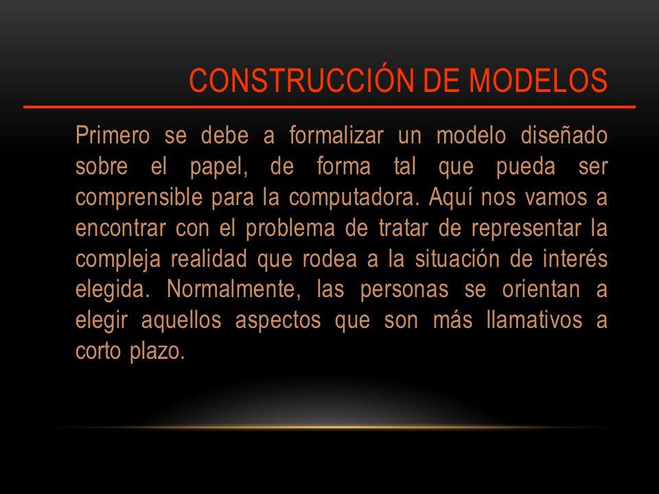 CONSTRUCCIÓN DE MODELOS Primero se debe a formalizar un modelo diseñado sobre el papel, de forma tal que pueda ser comprensible para la computadora.