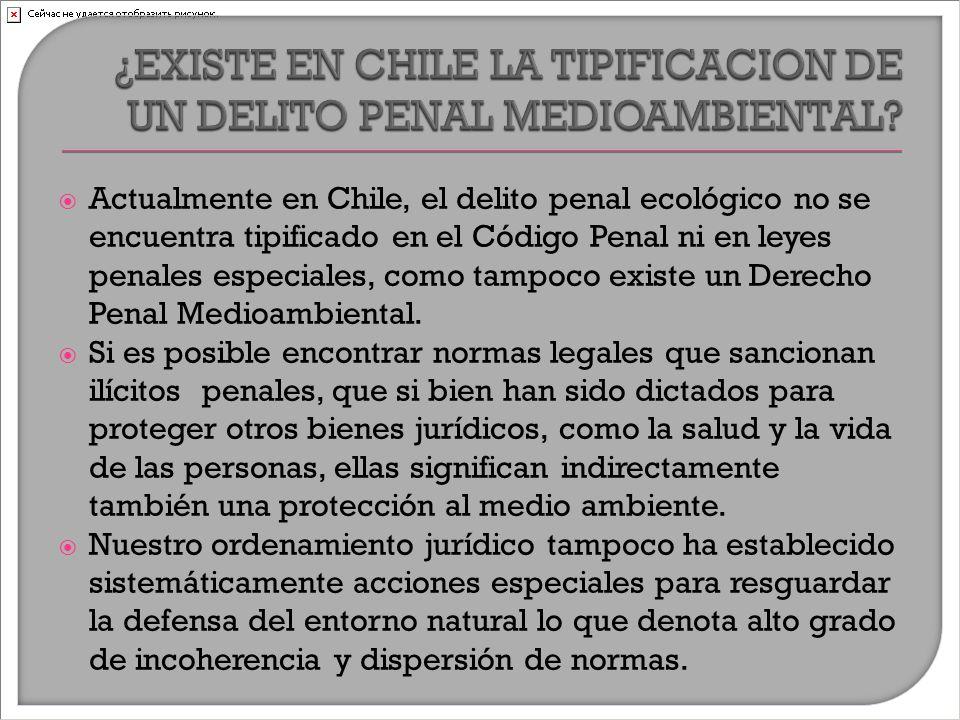  Actualmente en Chile, el delito penal ecológico no se encuentra tipificado en el Código Penal ni en leyes penales especiales, como tampoco existe un Derecho Penal Medioambiental.