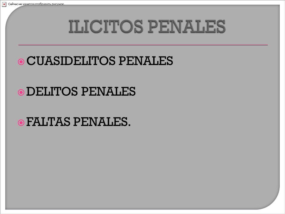  CUASIDELITOS PENALES  DELITOS PENALES  FALTAS PENALES.