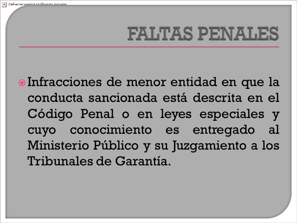  Infracciones de menor entidad en que la conducta sancionada está descrita en el Código Penal o en leyes especiales y cuyo conocimiento es entregado al Ministerio Público y su Juzgamiento a los Tribunales de Garantía.
