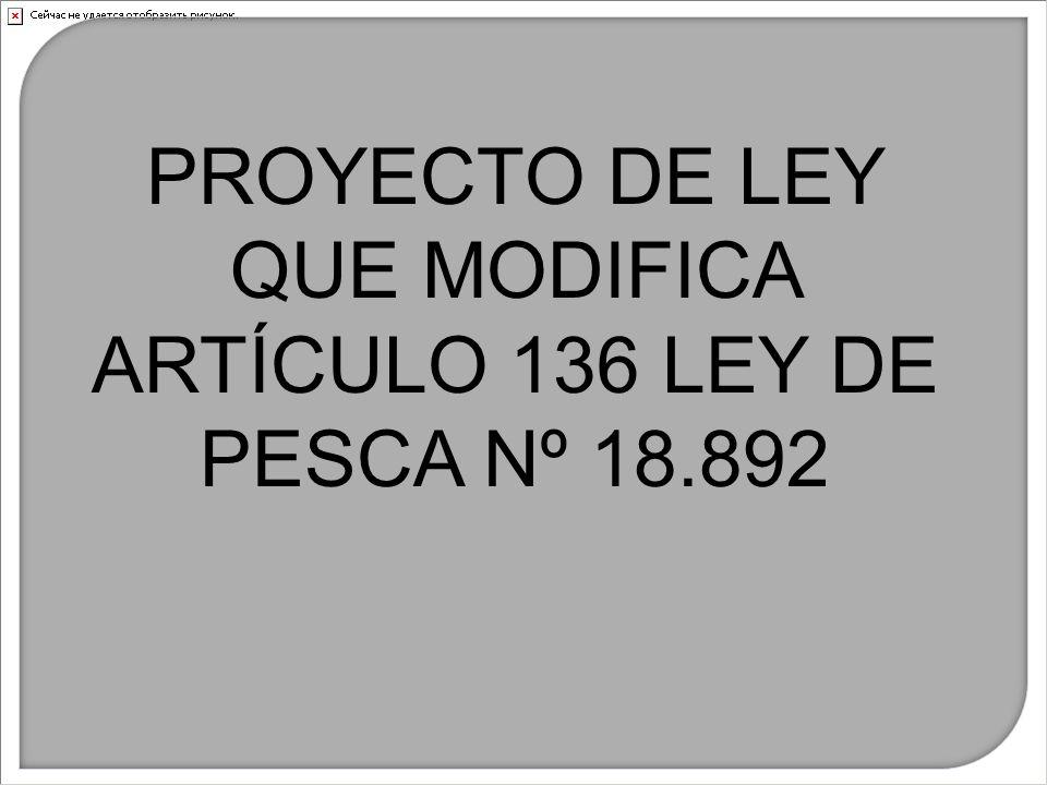 PROYECTO DE LEY QUE MODIFICA ARTÍCULO 136 LEY DE PESCA Nº 18.892