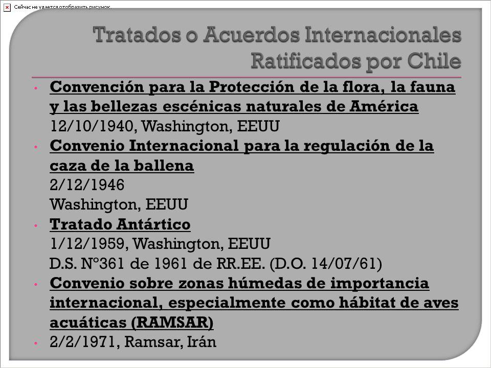 Convención para la Protección de la flora, la fauna y las bellezas escénicas naturales de América 12/10/1940, Washington, EEUU Convenio Internacional para la regulación de la caza de la ballena 2/12/1946 Washington, EEUU Tratado Antártico 1/12/1959, Washington, EEUU D.S.