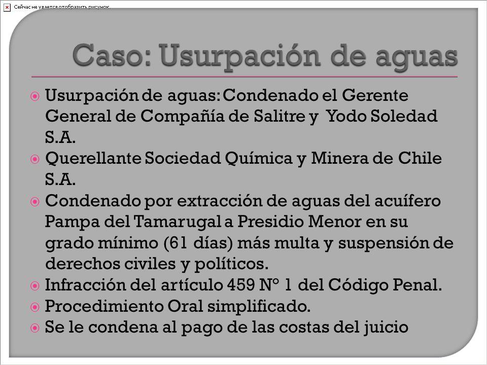  Usurpación de aguas: Condenado el Gerente General de Compañía de Salitre y Yodo Soledad S.A.