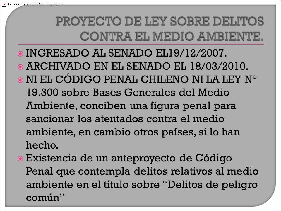  INGRESADO AL SENADO EL19/12/2007.  ARCHIVADO EN EL SENADO EL 18/03/2010.