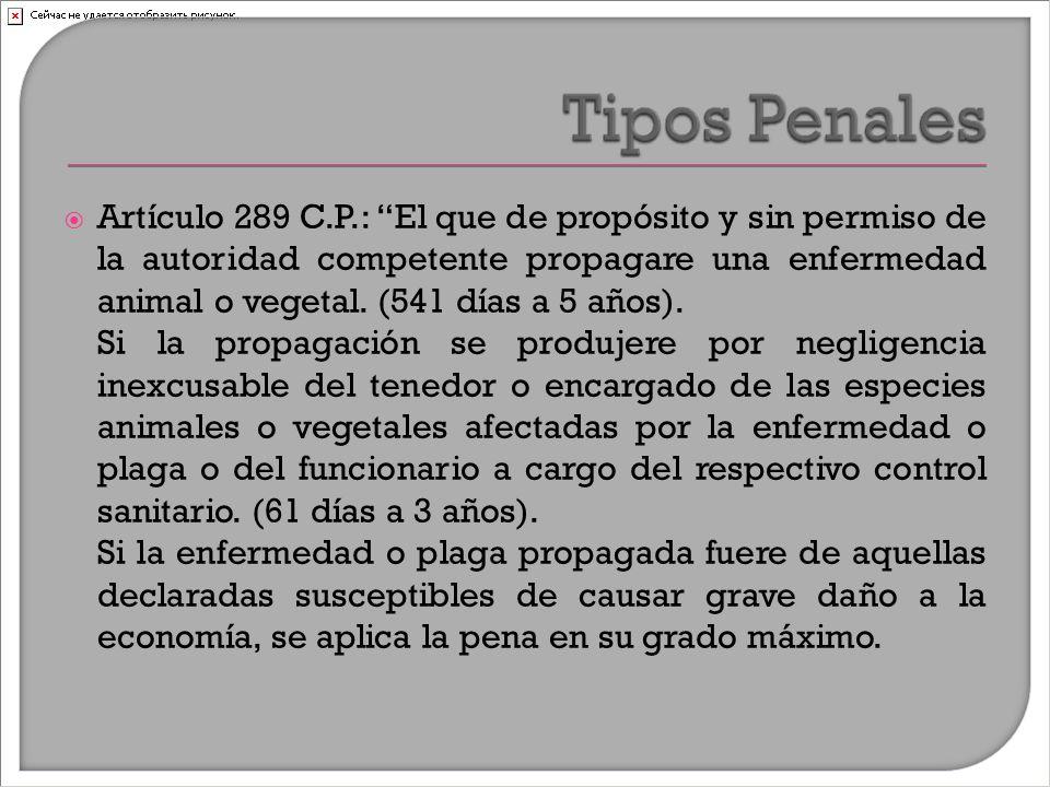  Artículo 289 C.P.: El que de propósito y sin permiso de la autoridad competente propagare una enfermedad animal o vegetal.