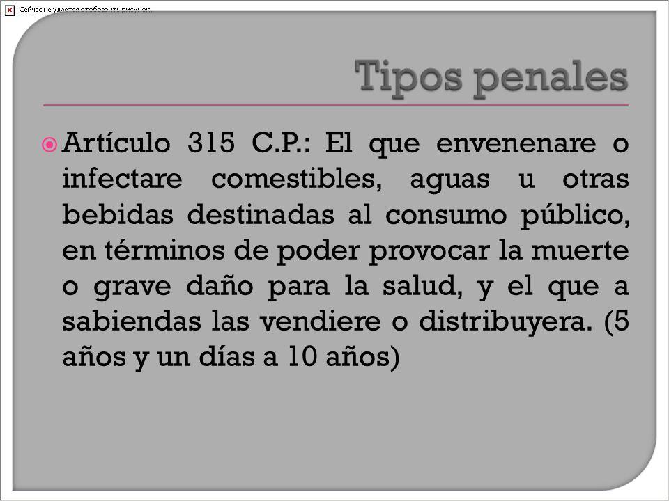  Artículo 315 C.P.: El que envenenare o infectare comestibles, aguas u otras bebidas destinadas al consumo público, en términos de poder provocar la muerte o grave daño para la salud, y el que a sabiendas las vendiere o distribuyera.