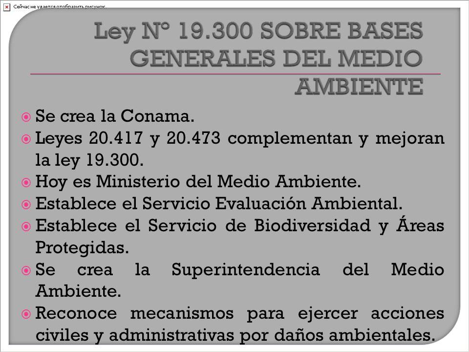  Se crea la Conama.  Leyes 20.417 y 20.473 complementan y mejoran la ley 19.300.